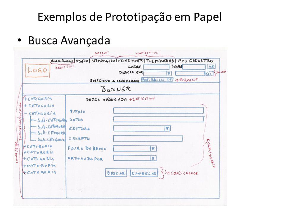 Exemplos de Prototipação em Papel • Busca Avançada