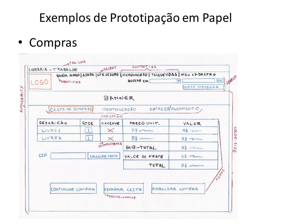 Exemplos de Prototipação em Papel • Compras 64
