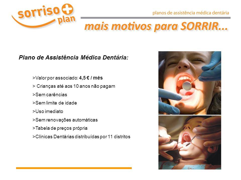 Plano de Assistência Médica Dentária: >Valor por associado: 4,5 € / mês > Crianças até aos 10 anos não pagam >Sem carências >Sem limite de idade >Uso