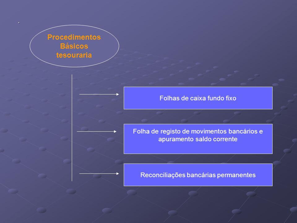 . Procedimentos Básicos tesouraria Folhas de caixa fundo fixo Folha de registo de movimentos bancários e apuramento saldo corrente Reconciliações banc