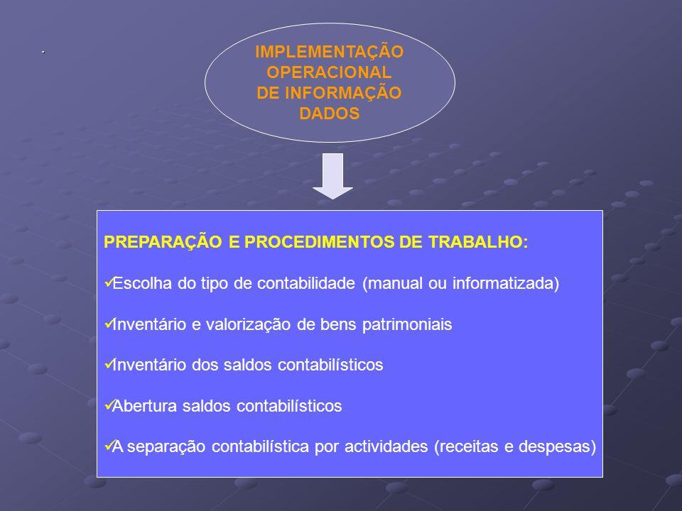 . IMPLEMENTAÇÃO OPERACIONAL DE INFORMAÇÃO DADOS PREPARAÇÃO E PROCEDIMENTOS DE TRABALHO:  Escolha do tipo de contabilidade (manual ou informatizada) 