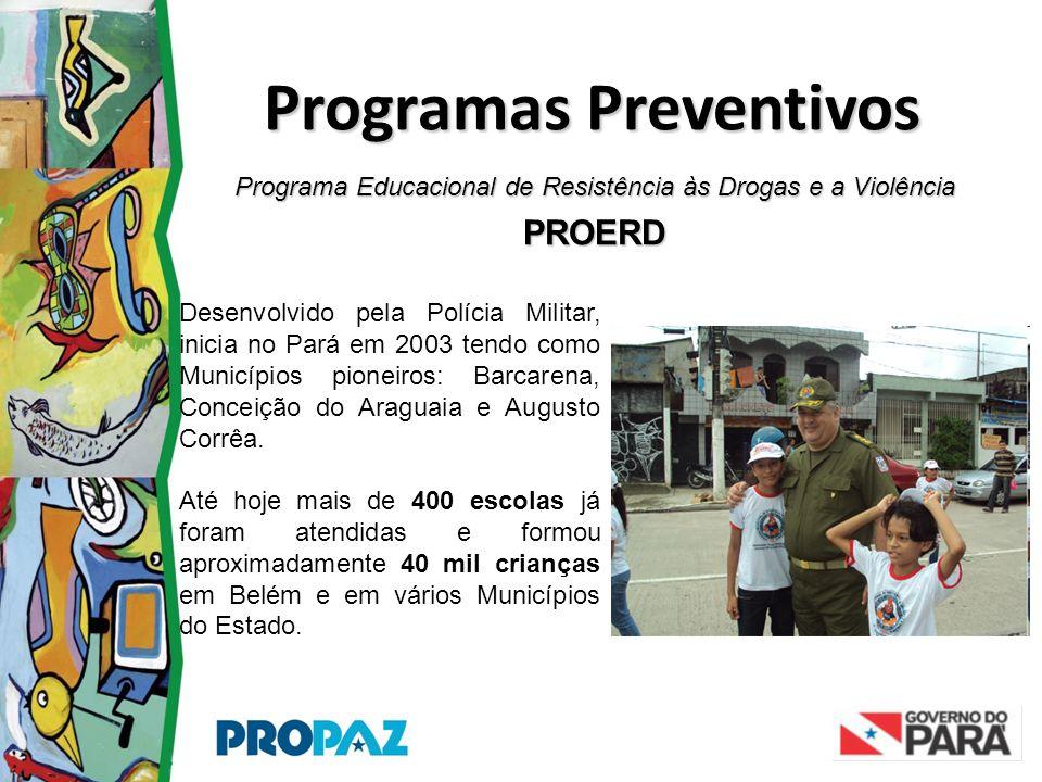 Programa Educacional de Resistência às Drogas e a Violência PROERD Programas Preventivos Desenvolvido pela Polícia Militar, inicia no Pará em 2003 ten