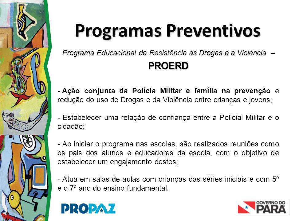 Programa Educacional de Resistência às Drogas e a Violência – PROERD Programas Preventivos - Ação conjunta da Polícia Militar e família na prevenção e