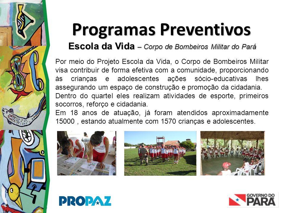 Escola da Vida – Corpo de Bombeiros Militar do Pará Programas Preventivos Por meio do Projeto Escola da Vida, o Corpo de Bombeiros Militar visa contri
