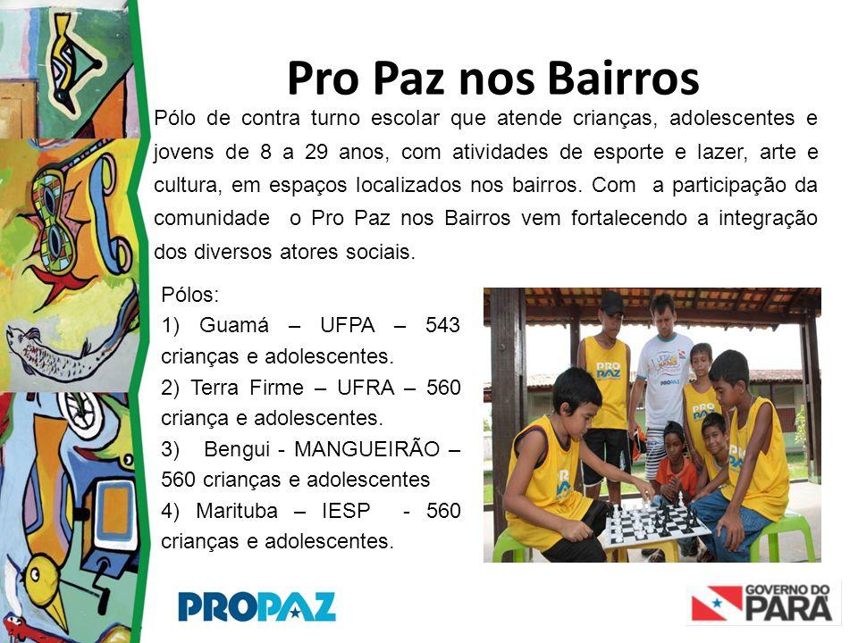 Pro Paz nos Bairros Pólo de contra turno escolar que atende crianças, adolescentes e jovens de 8 a 29 anos, com atividades de esporte e lazer, arte e