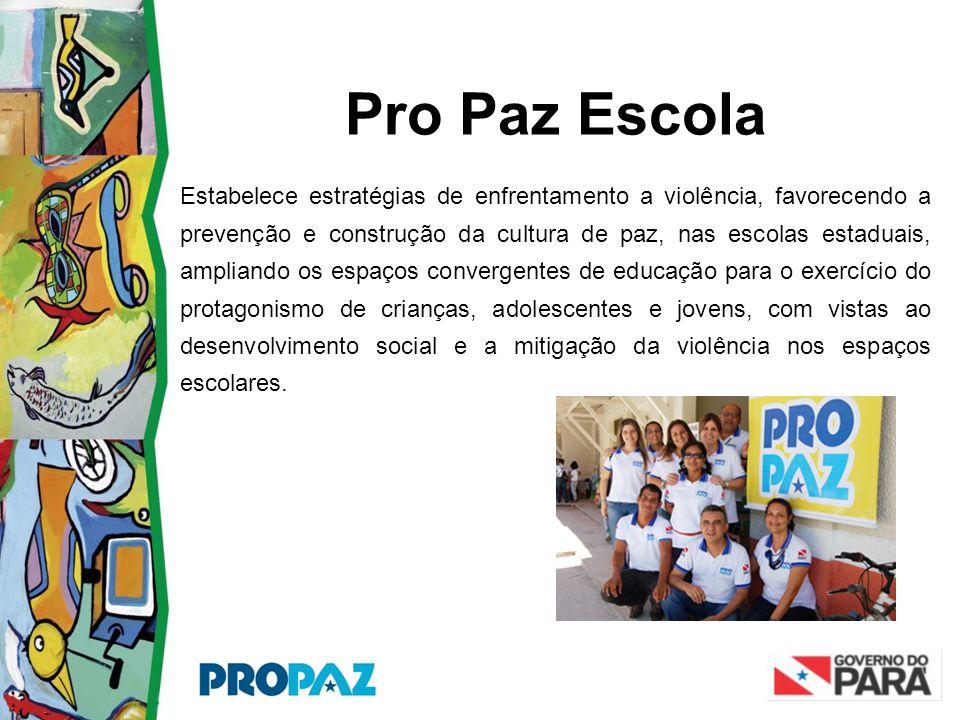 Pro Paz Escola Estabelece estratégias de enfrentamento a violência, favorecendo a prevenção e construção da cultura de paz, nas escolas estaduais, amp