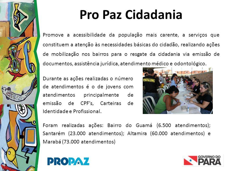 Pro Paz Cidadania Promove a acessibilidade da população mais carente, a serviços que constituem a atenção às necessidades básicas do cidadão, realizan