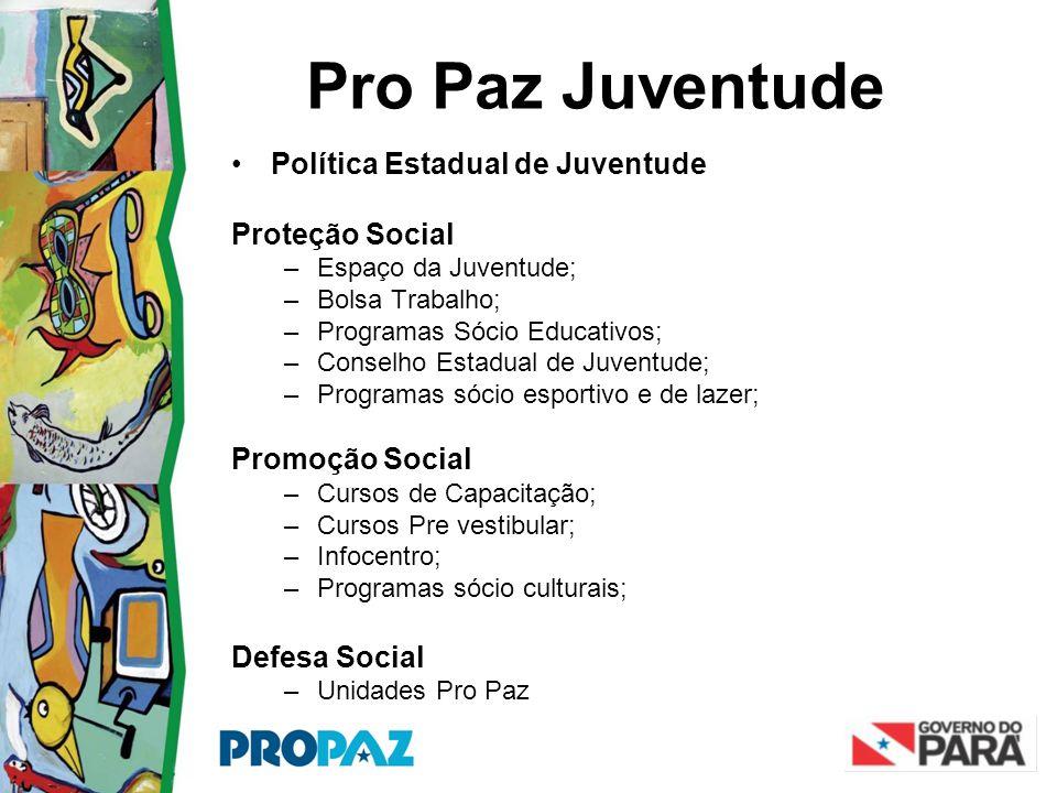 Pro Paz Juventude •Política Estadual de Juventude Proteção Social –Espaço da Juventude; –Bolsa Trabalho; –Programas Sócio Educativos; –Conselho Estadu