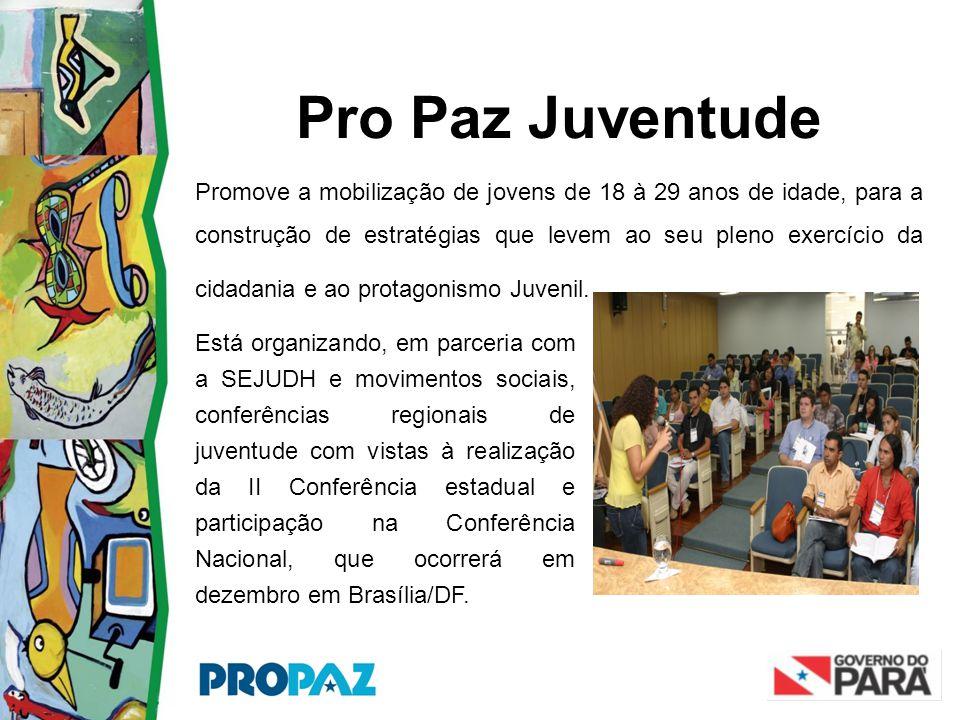 Pro Paz Juventude Promove a mobilização de jovens de 18 à 29 anos de idade, para a construção de estratégias que levem ao seu pleno exercício da cidad