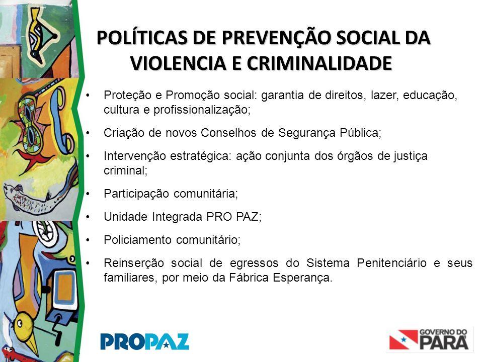 POLÍTICAS DE PREVENÇÃO SOCIAL DA VIOLENCIA E CRIMINALIDADE POLÍTICAS DE PREVENÇÃO SOCIAL DA VIOLENCIA E CRIMINALIDADE •Proteção e Promoção social: gar