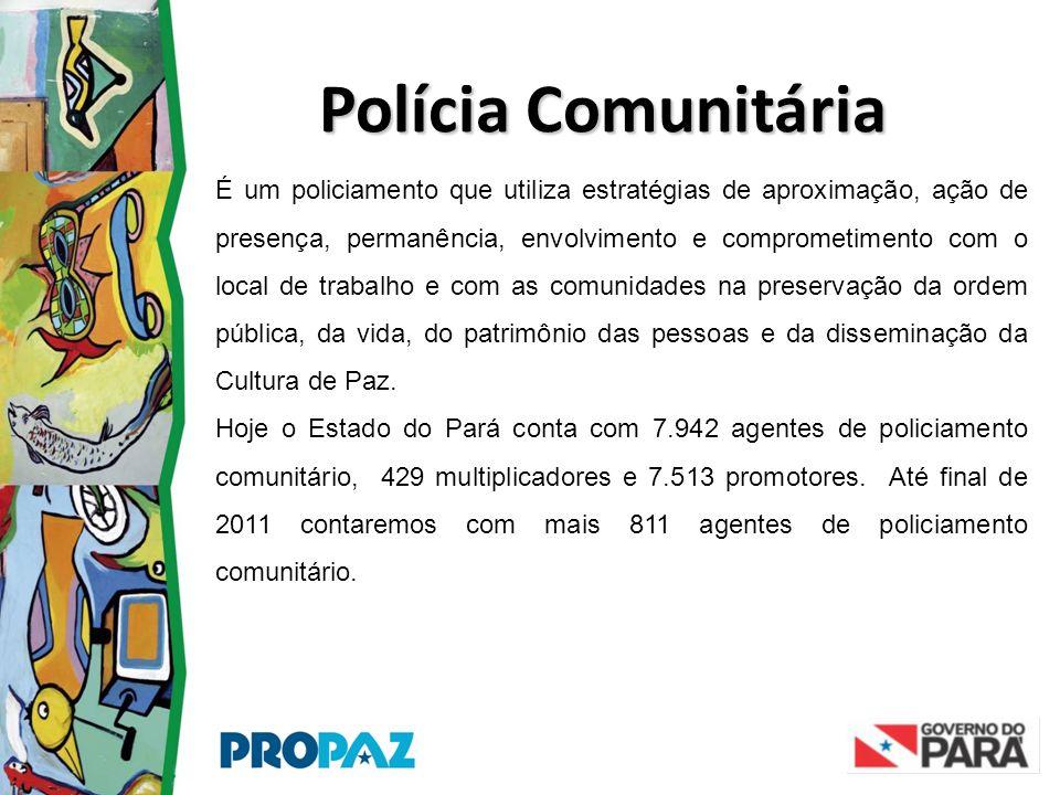 Polícia Comunitária É um policiamento que utiliza estratégias de aproximação, ação de presença, permanência, envolvimento e comprometimento com o loca