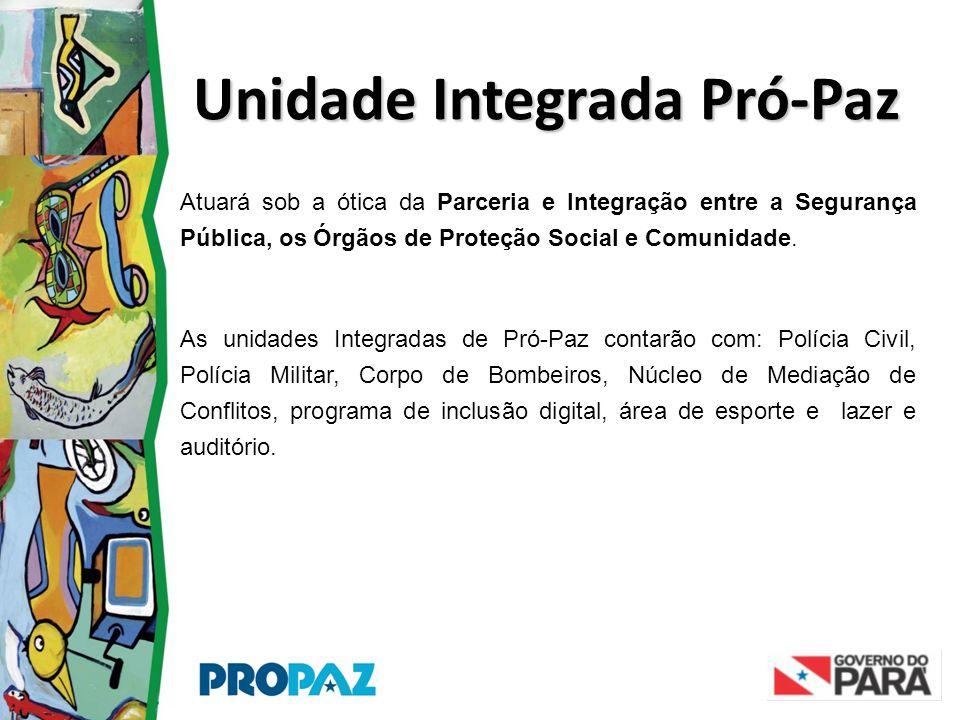 Unidade Integrada Pró-Paz Atuará sob a ótica da Parceria e Integração entre a Segurança Pública, os Órgãos de Proteção Social e Comunidade. As unidade