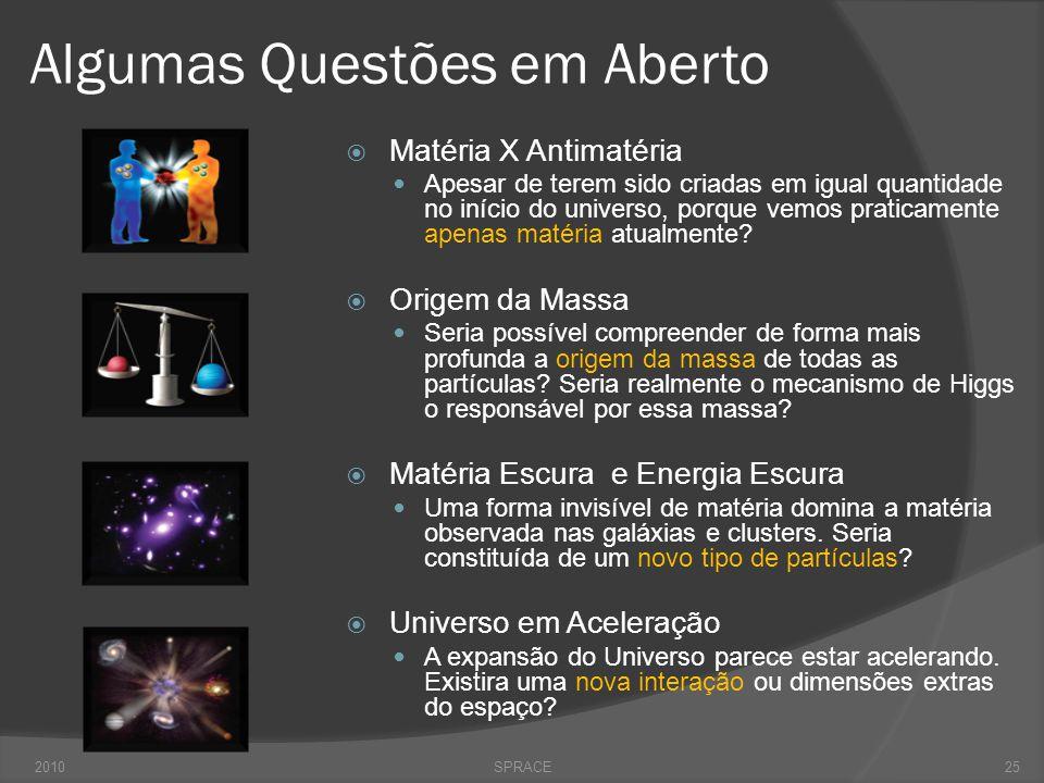 Algumas Questões em Aberto  Matéria X Antimatéria  Apesar de terem sido criadas em igual quantidade no início do universo, porque vemos praticamente apenas matéria atualmente.