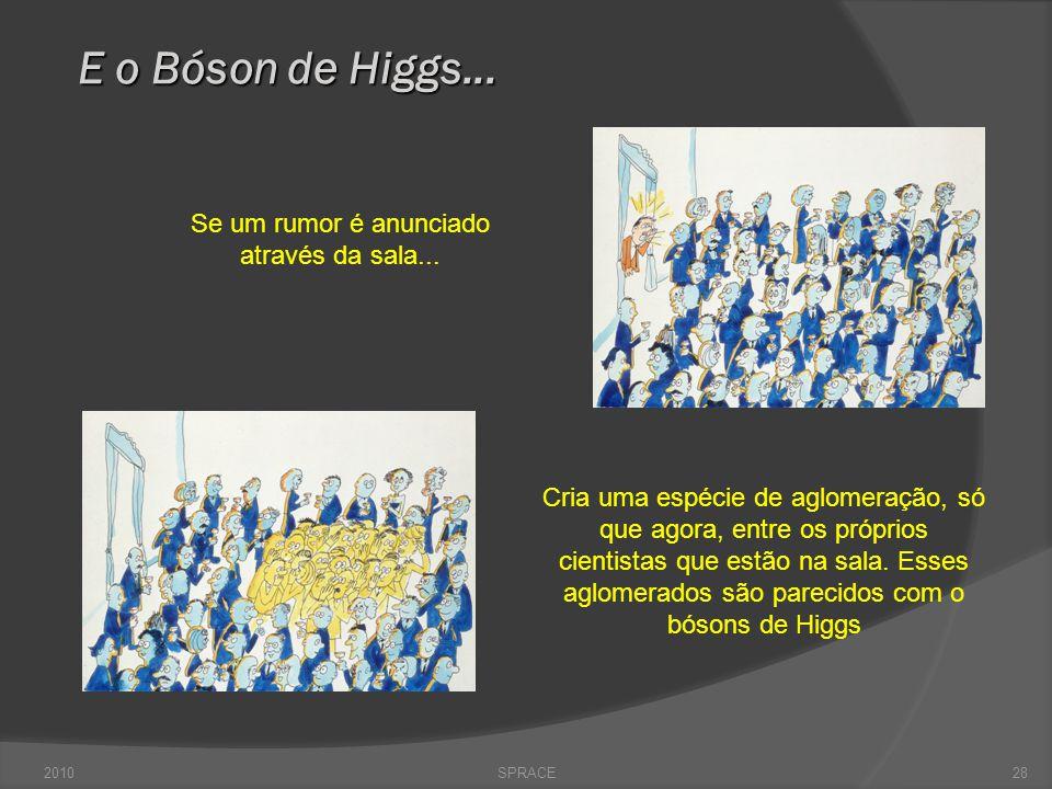 SPRACE28 E o Bóson de Higgs... Cria uma espécie de aglomeração, só que agora, entre os próprios cientistas que estão na sala. Esses aglomerados são pa
