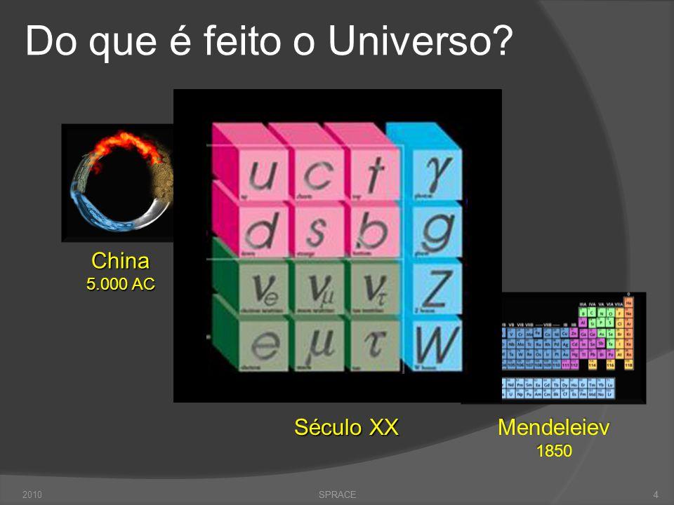 4 Do que é feito o Universo? SPRACE China 5.000 AC Grécia 500 AC Mendeleiev1850 Século XX 42010