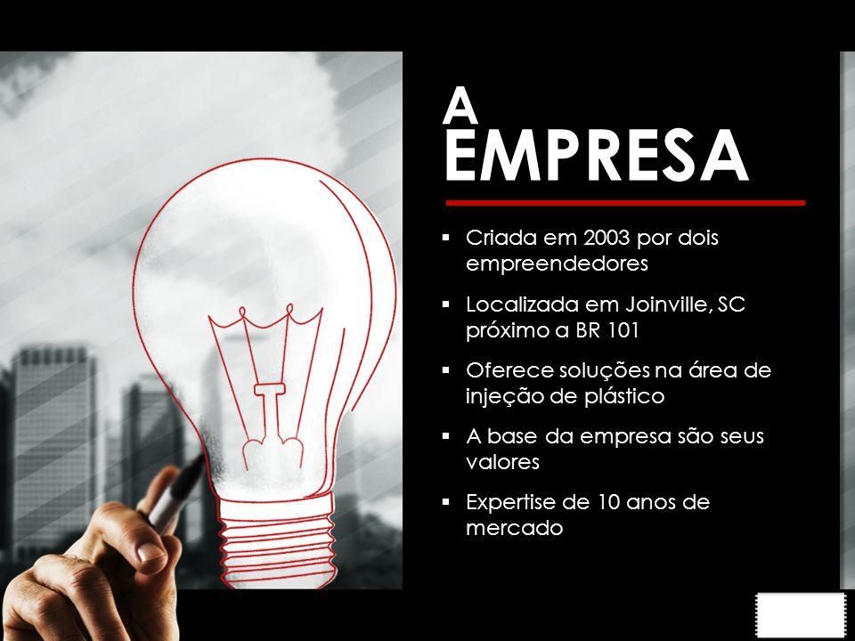 A EMPRESA  Criada em 2003 por dois empreendedores  Localizada em Joinville, SC próximo a BR 101  Oferece soluções na área de injeção de plástico  A base da empresa são seus valores  Expertise de 10 anos de mercado
