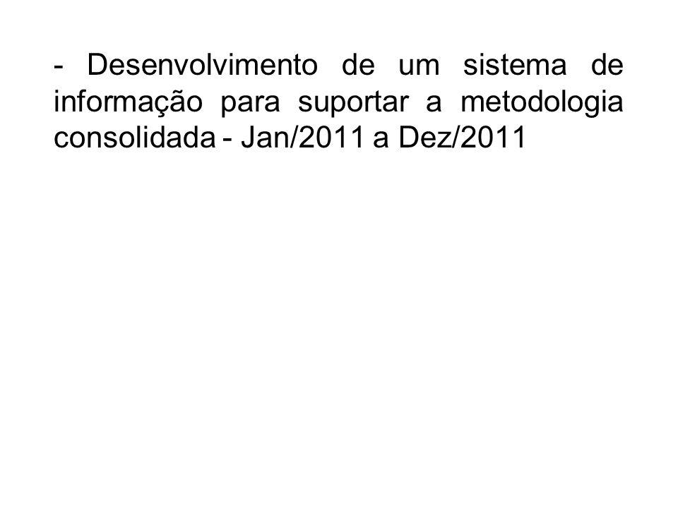 - Desenvolvimento de um sistema de informação para suportar a metodologia consolidada - Jan/2011 a Dez/2011