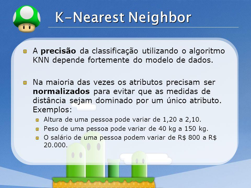 LOGO K-Nearest Neighbor A precisão da classificação utilizando o algoritmo KNN depende fortemente do modelo de dados. Na maioria das vezes os atributo