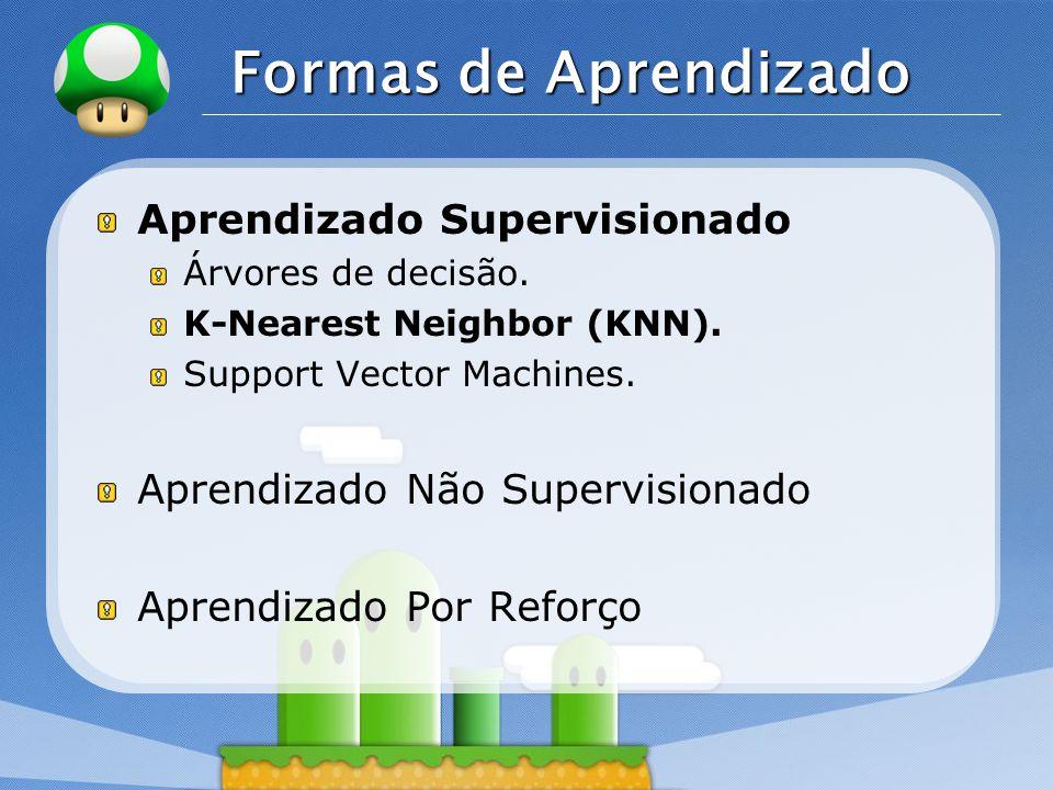 LOGO Formas de Aprendizado Aprendizado Supervisionado Árvores de decisão. K-Nearest Neighbor (KNN). Support Vector Machines. Aprendizado Não Supervisi