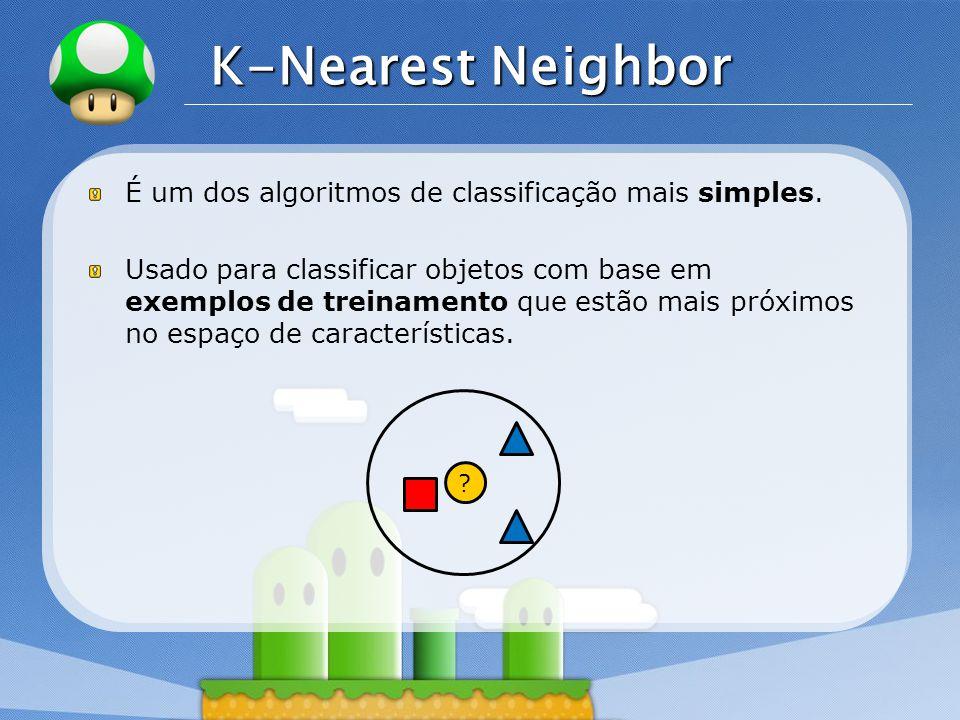 LOGO K-Nearest Neighbor É um dos algoritmos de classificação mais simples. Usado para classificar objetos com base em exemplos de treinamento que estã