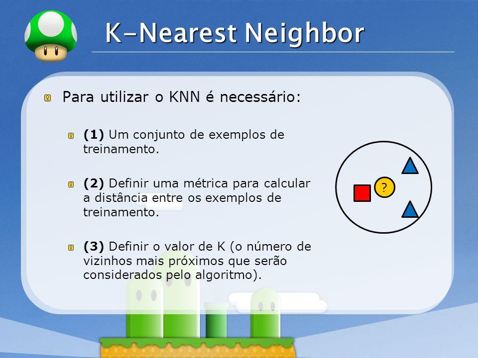 LOGO K-Nearest Neighbor Para utilizar o KNN é necessário: (1) Um conjunto de exemplos de treinamento. (2) Definir uma métrica para calcular a distânci