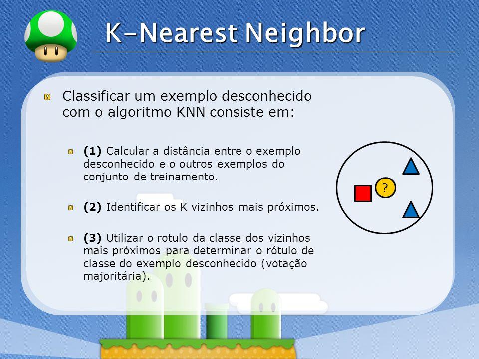 LOGO K-Nearest Neighbor Classificar um exemplo desconhecido com o algoritmo KNN consiste em: (1) Calcular a distância entre o exemplo desconhecido e o outros exemplos do conjunto de treinamento.