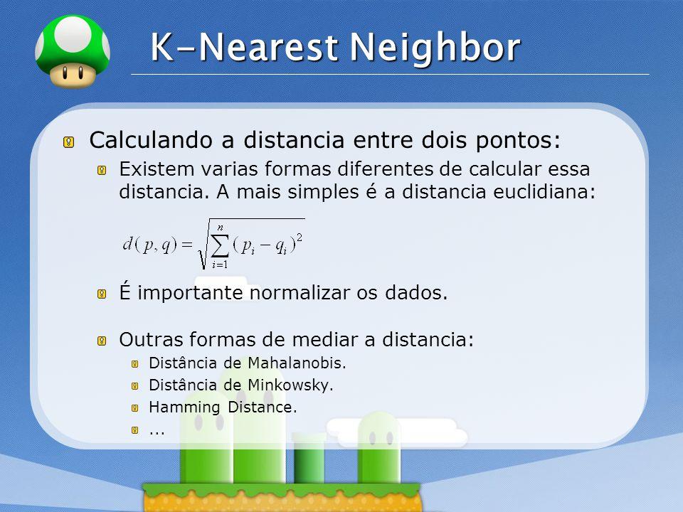 LOGO K-Nearest Neighbor Calculando a distancia entre dois pontos: Existem varias formas diferentes de calcular essa distancia. A mais simples é a dist