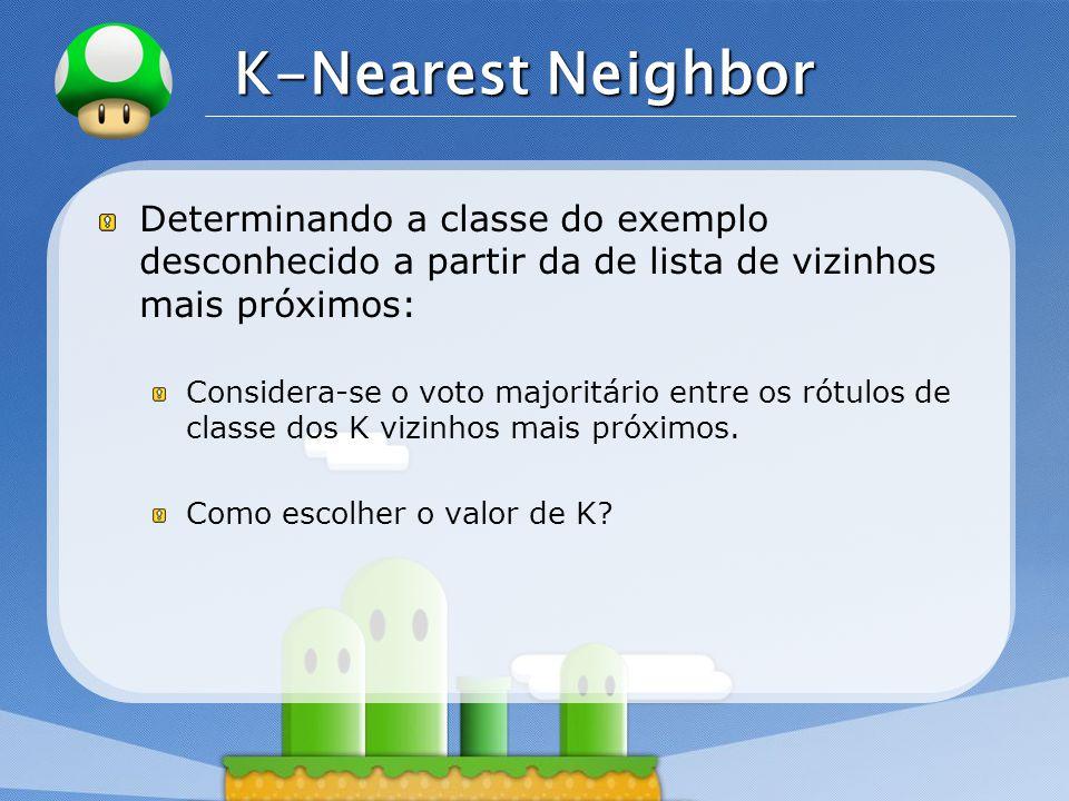 LOGO K-Nearest Neighbor Determinando a classe do exemplo desconhecido a partir da de lista de vizinhos mais próximos: Considera-se o voto majoritário entre os rótulos de classe dos K vizinhos mais próximos.