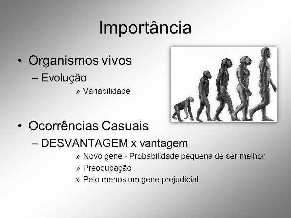 Importância •Organismos vivos –Evolução »Variabilidade •Ocorrências Casuais –DESVANTAGEM x vantagem »Novo gene - Probabilidade pequena de ser melhor »Preocupação »Pelo menos um gene prejudicial