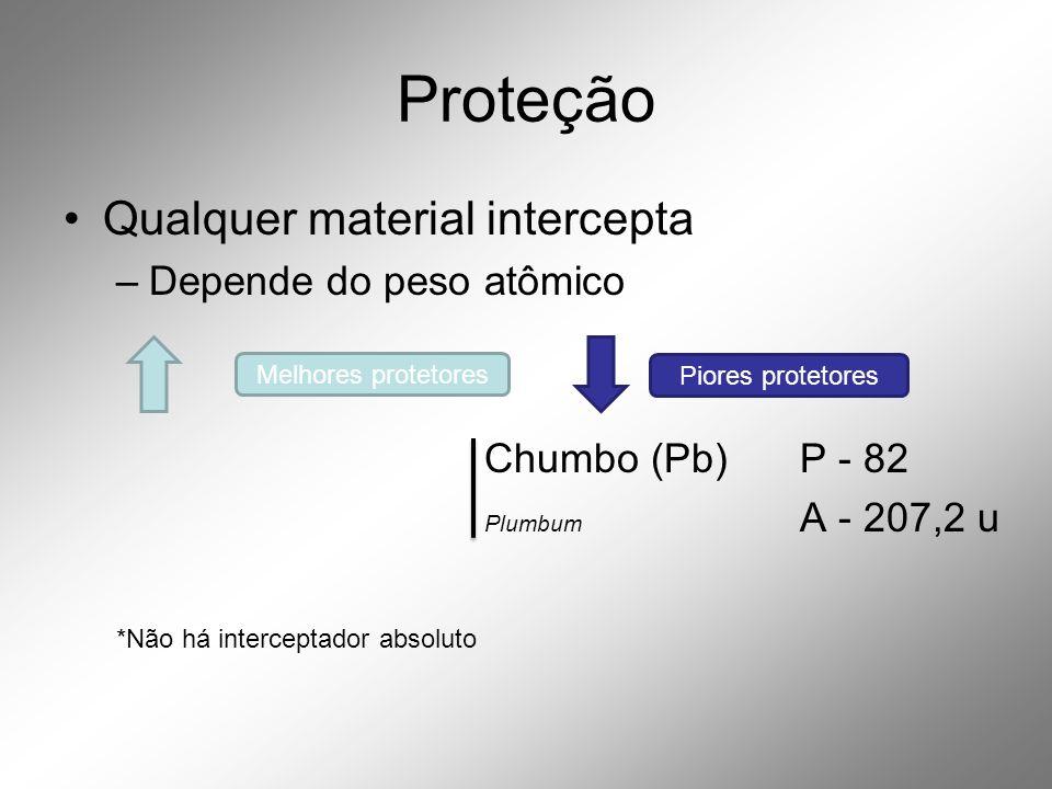 Proteção •Qualquer material intercepta –Depende do peso atômico Chumbo (Pb) P - 82 Plumbum A - 207,2 u *Não há interceptador absoluto Melhores protetores Piores protetores