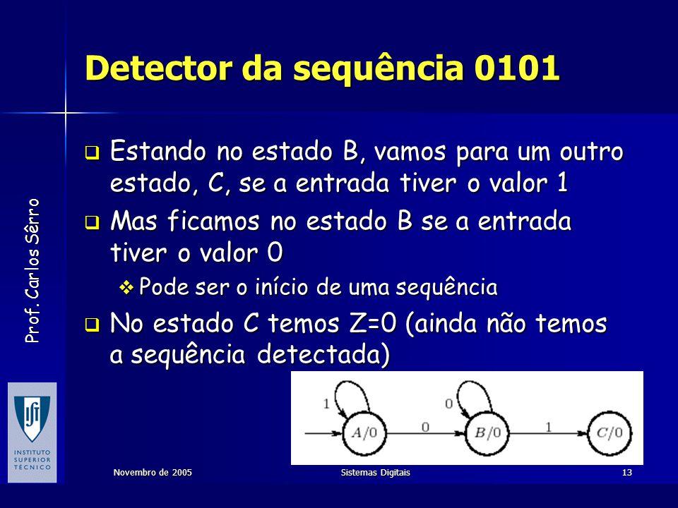 Prof. Carlos Sêrro Novembro de 2005Sistemas Digitais13 Detector da sequência 0101  Estando no estado B, vamos para um outro estado, C, se a entrada t