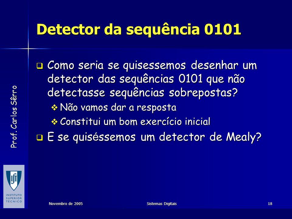 Prof. Carlos Sêrro Novembro de 2005Sistemas Digitais18 Detector da sequência 0101  Como seria se quisessemos desenhar um detector das sequências 0101