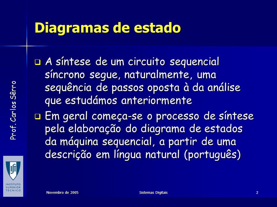 Prof. Carlos Sêrro Novembro de 2005Sistemas Digitais2 Diagramas de estado  A síntese de um circuito sequencial síncrono segue, naturalmente, uma sequ