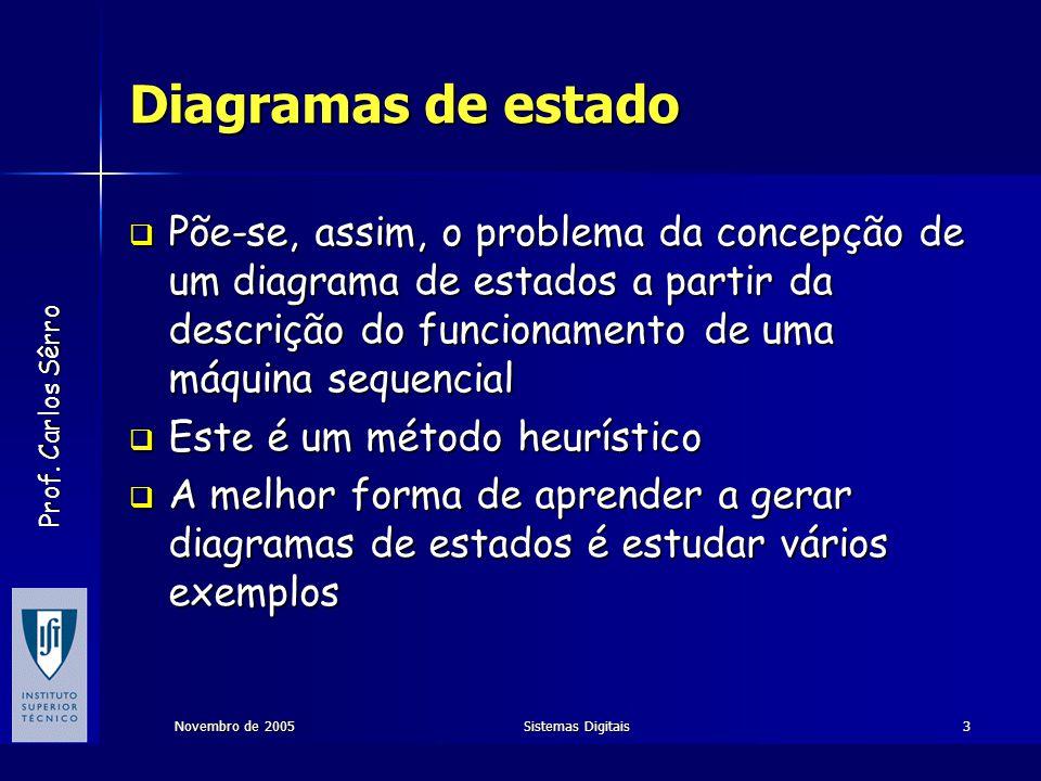 Prof. Carlos Sêrro Novembro de 2005Sistemas Digitais3 Diagramas de estado  Põe-se, assim, o problema da concepção de um diagrama de estados a partir
