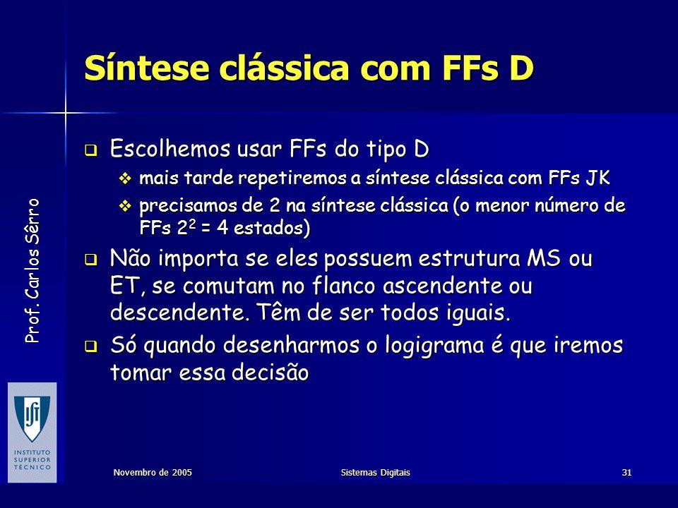 Prof. Carlos Sêrro Novembro de 2005Sistemas Digitais31 Síntese clássica com FFs D  Escolhemos usar FFs do tipo D  mais tarde repetiremos a síntese c