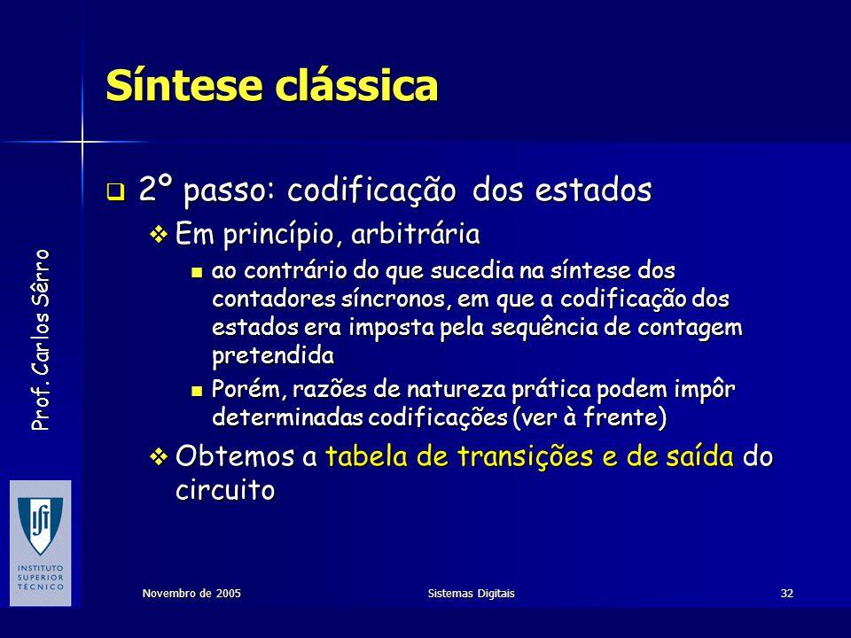 Prof. Carlos Sêrro Novembro de 2005Sistemas Digitais32 Síntese clássica  2º passo: codificação dos estados  Em princípio, arbitrária  ao contrário