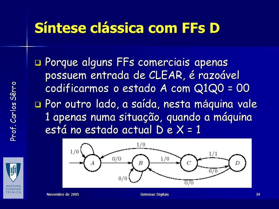 Prof. Carlos Sêrro Novembro de 2005Sistemas Digitais34 Síntese clássica com FFs D  Porque alguns FFs comerciais apenas possuem entrada de CLEAR, é ra