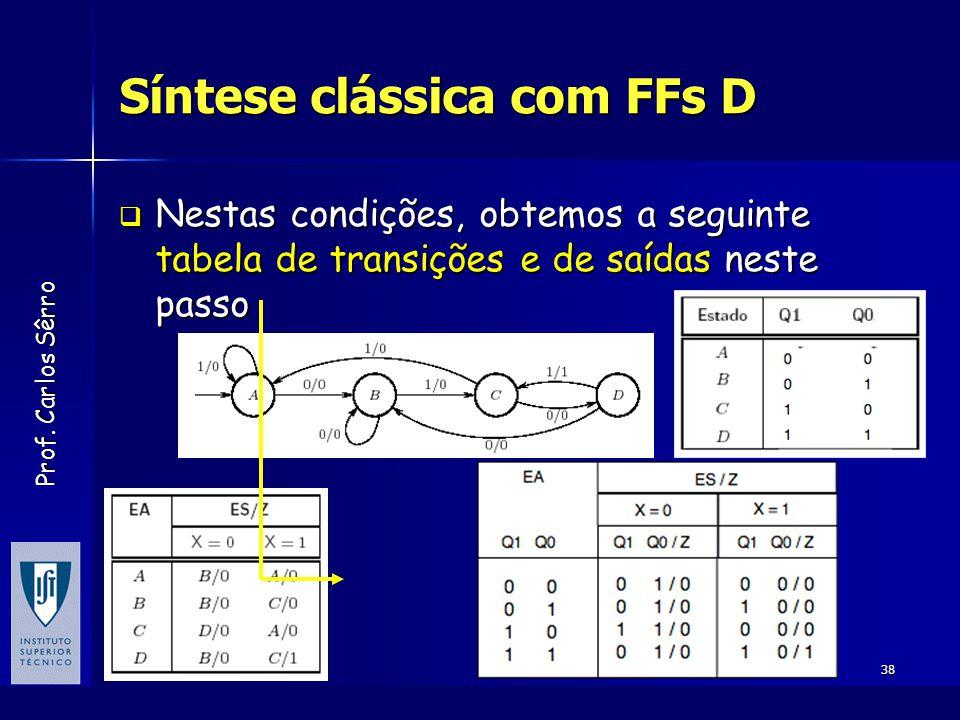 Prof. Carlos Sêrro Novembro de 2005Sistemas Digitais38 Síntese clássica com FFs D  Nestas condições, obtemos a seguinte tabela de transições e de saí