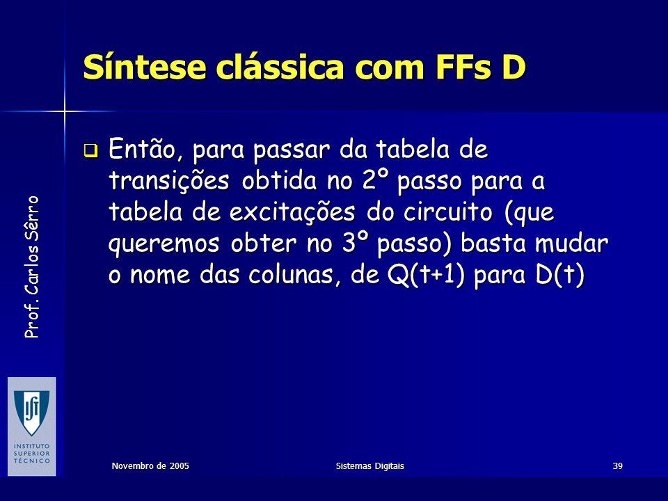 Prof. Carlos Sêrro Novembro de 2005Sistemas Digitais39 Síntese clássica com FFs D  Então, para passar da tabela de transições obtida no 2º passo para