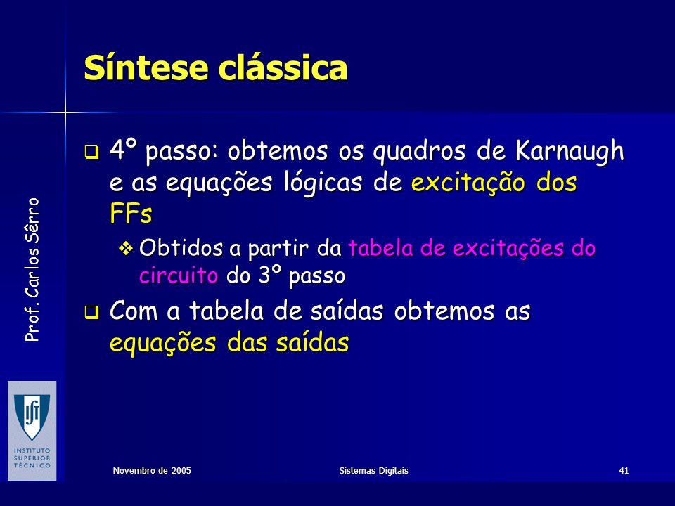 Prof. Carlos Sêrro Novembro de 2005Sistemas Digitais41 Síntese clássica  4º passo: obtemos os quadros de Karnaugh e as equações lógicas de excitação