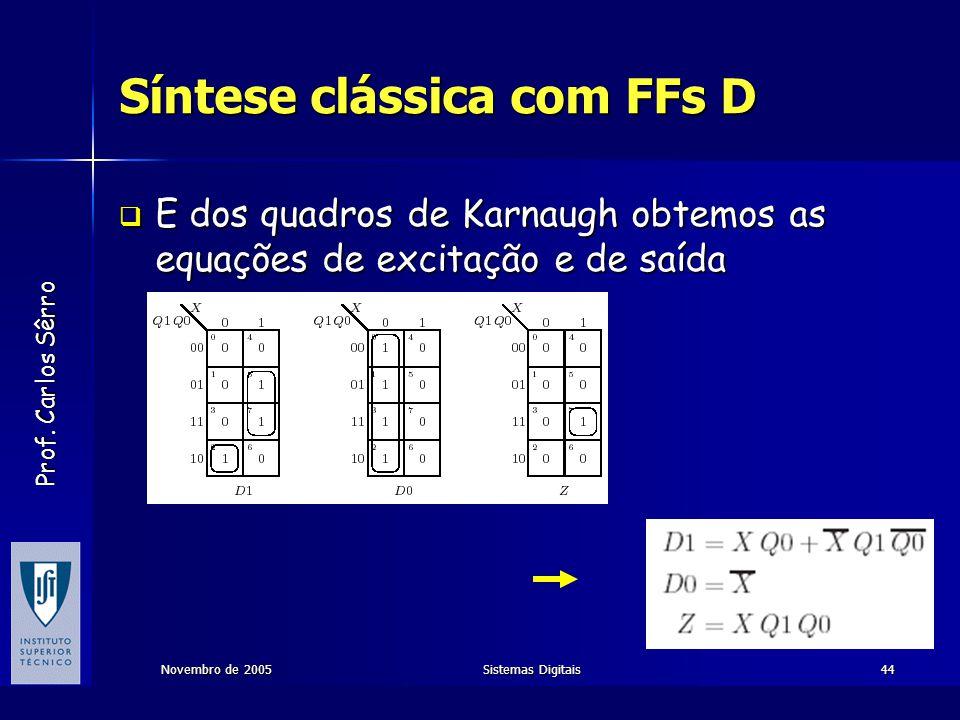 Prof. Carlos Sêrro Novembro de 2005Sistemas Digitais44 Síntese clássica com FFs D  E dos quadros de Karnaugh obtemos as equações de excitação e de sa