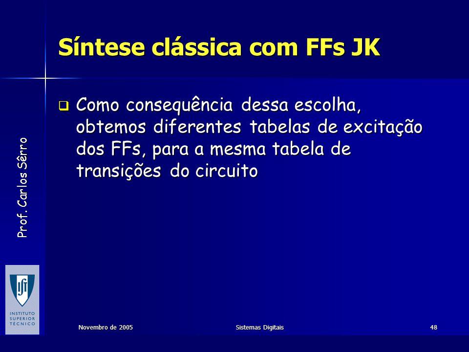 Prof. Carlos Sêrro Novembro de 2005Sistemas Digitais48 Síntese clássica com FFs JK  Como consequência dessa escolha, obtemos diferentes tabelas de ex