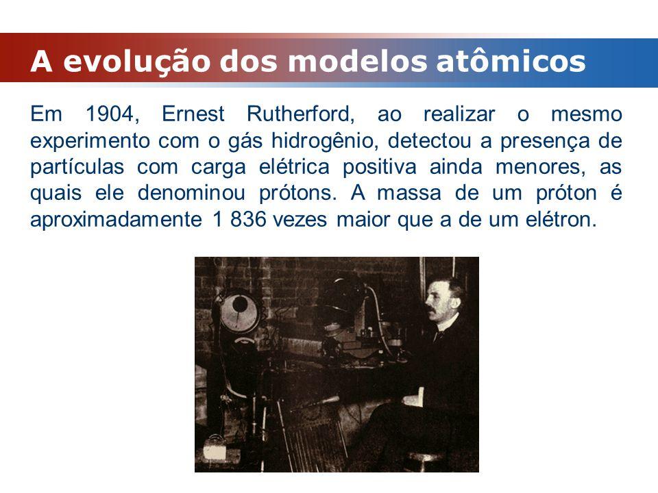 A evolução dos modelos atômicos Em 1904, Ernest Rutherford, ao realizar o mesmo experimento com o gás hidrogênio, detectou a presença de partículas co