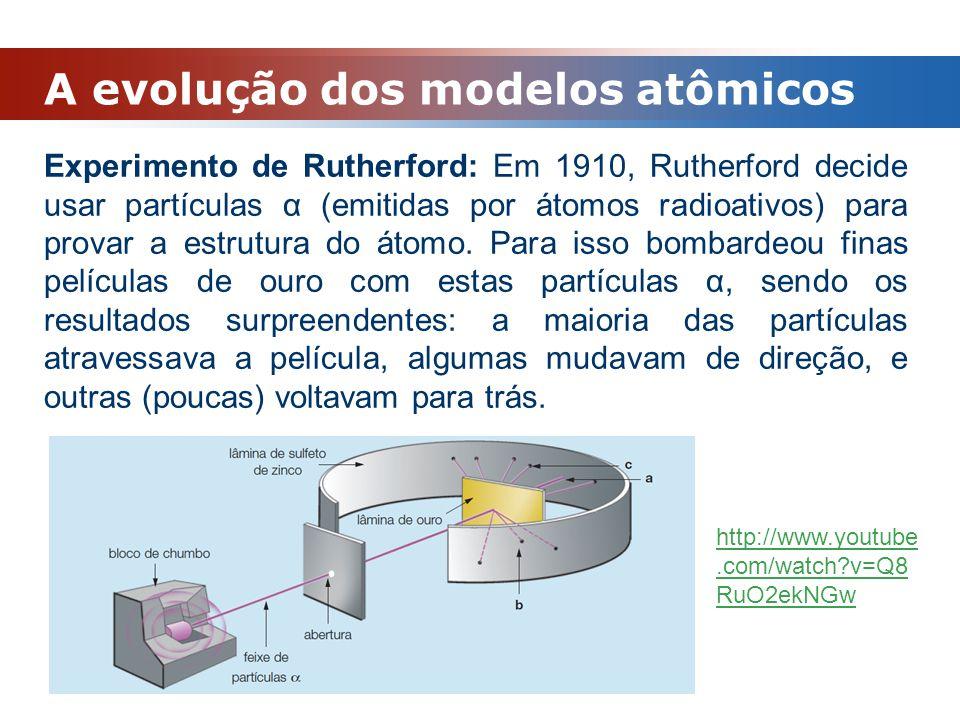 A evolução dos modelos atômicos Experimento de Rutherford: Em 1910, Rutherford decide usar partículas α (emitidas por átomos radioativos) para provar
