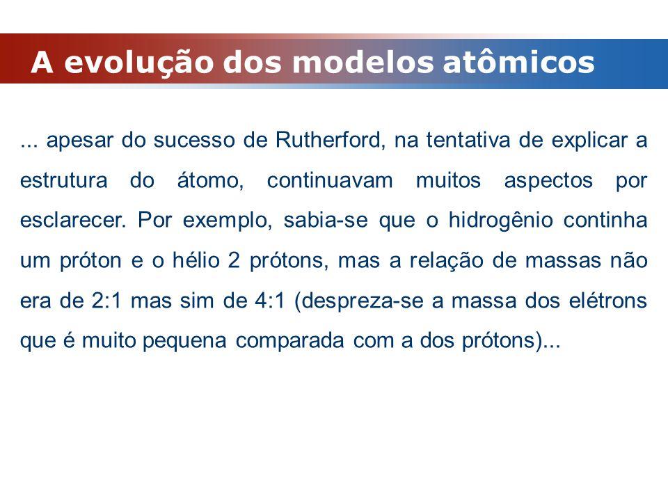 A evolução dos modelos atômicos... apesar do sucesso de Rutherford, na tentativa de explicar a estrutura do átomo, continuavam muitos aspectos por esc