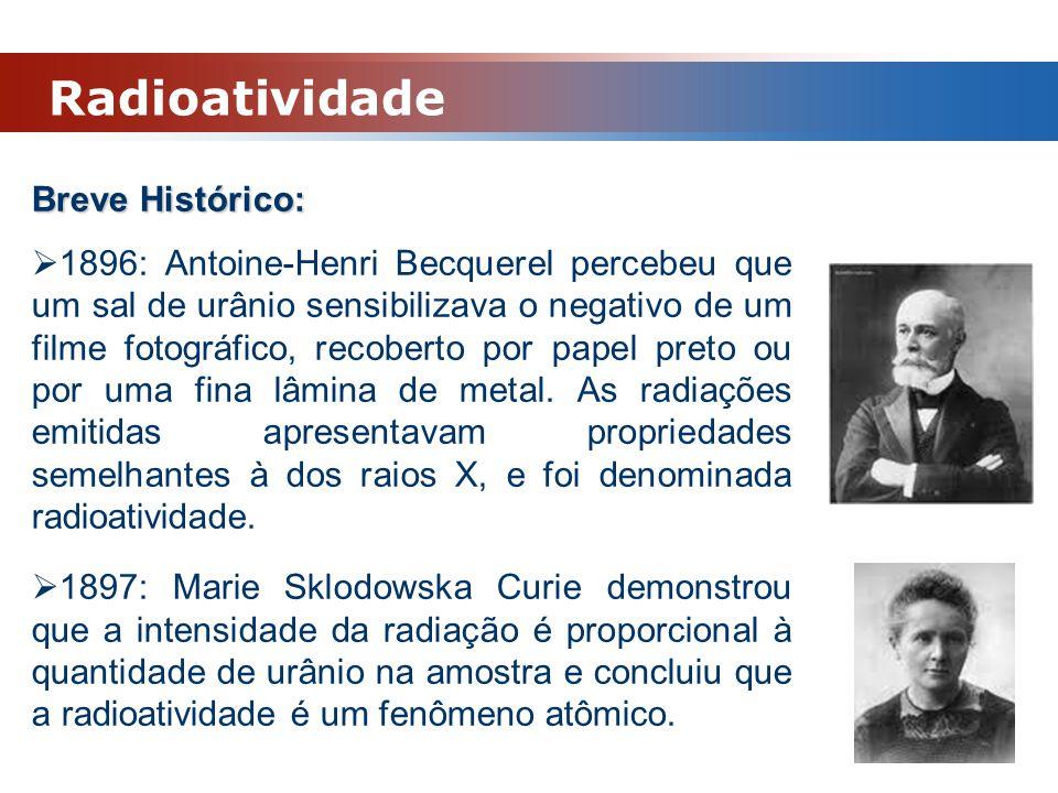 Radioatividade Breve Histórico:  1896: Antoine-Henri Becquerel percebeu que um sal de urânio sensibilizava o negativo de um filme fotográfico, recobe