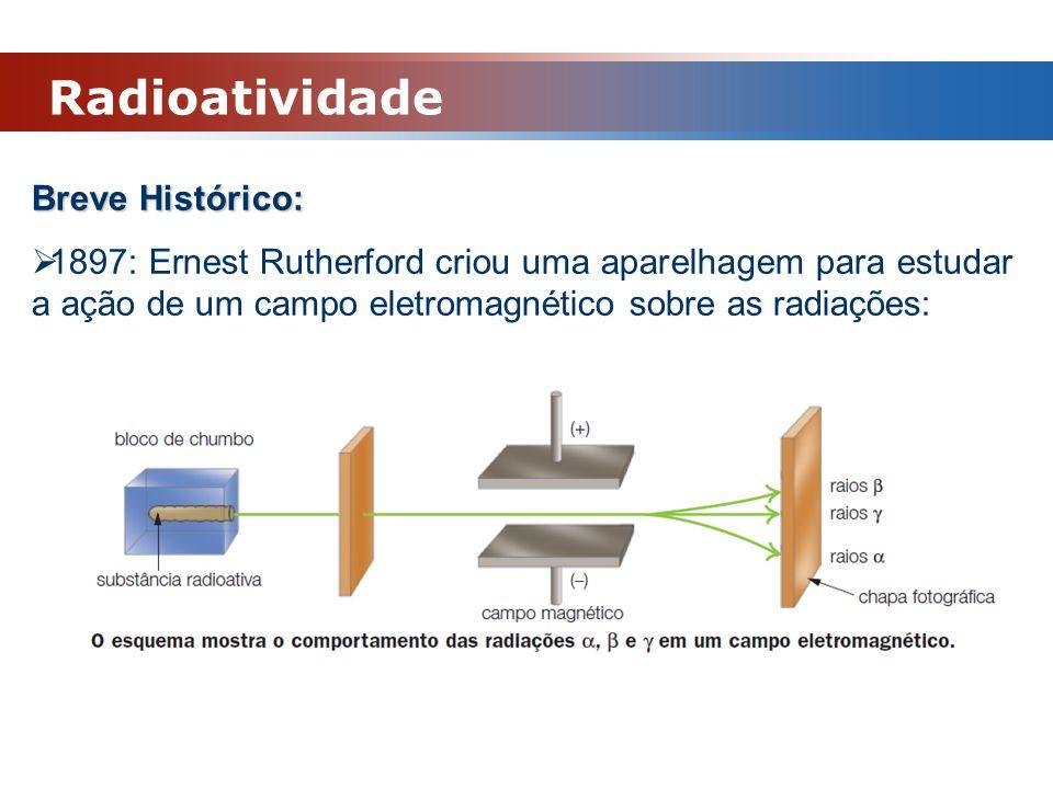 Radioatividade Breve Histórico:  1897: Ernest Rutherford criou uma aparelhagem para estudar a ação de um campo eletromagnético sobre as radiações: