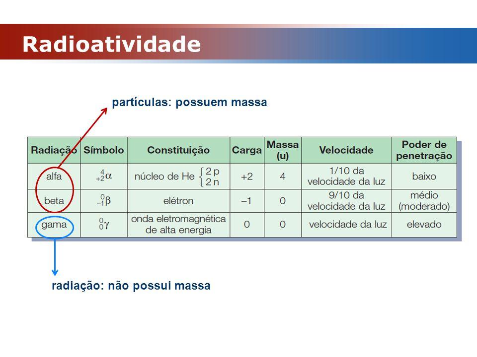 Radioatividade partículas: possuem massa radiação: não possui massa