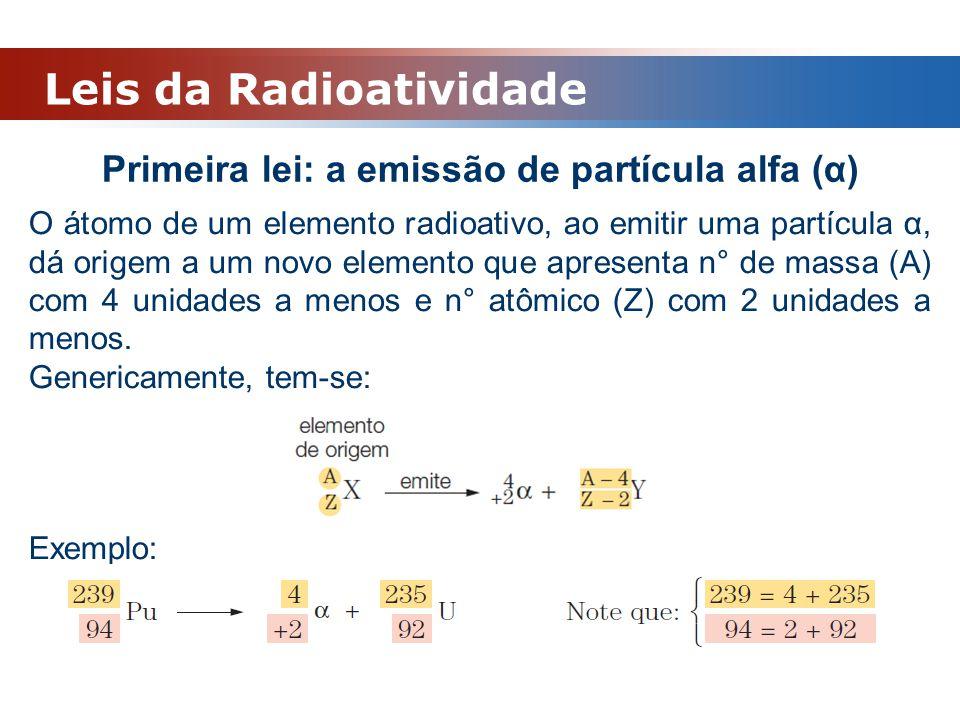 Leis da Radioatividade Primeira lei: a emissão de partícula alfa (α) O átomo de um elemento radioativo, ao emitir uma partícula α, dá origem a um novo