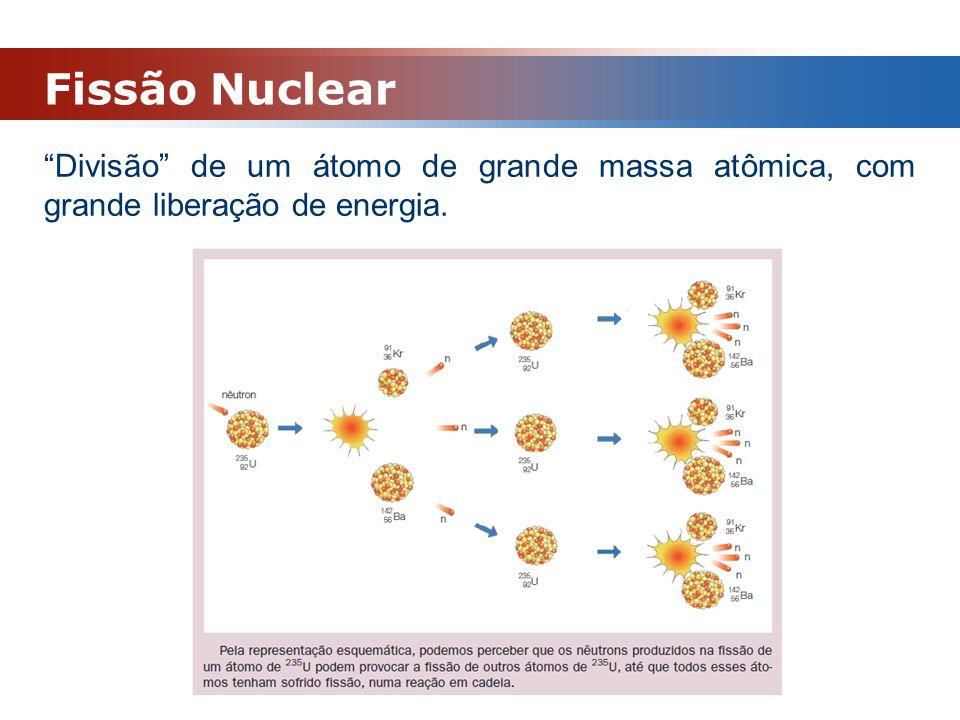 """Fissão Nuclear """"Divisão"""" de um átomo de grande massa atômica, com grande liberação de energia."""